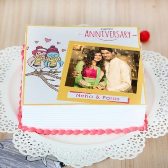 Marriage Anniversary Photo Cake