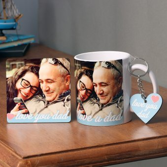 Fathers day Combo of Personalised Mug and Coaster with Keychain for Dad