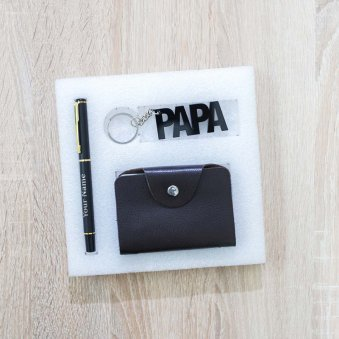 Fathers day Cardhold, pen and keychain set for Papa