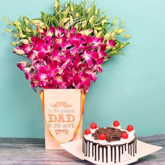 Orchids Bunch and Cake Combo for Dad