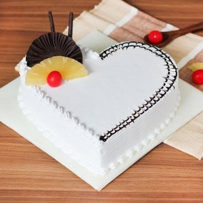 Heart Shaped Chocolate Pineapple Cake with Normal View