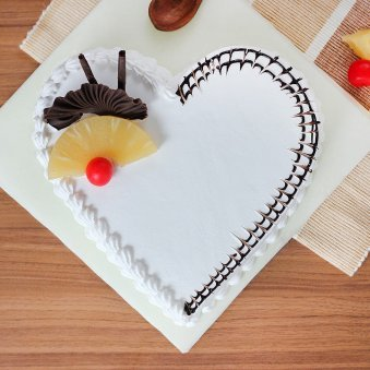 Heart Shaped Chocolate Pineapple Cake with Top View