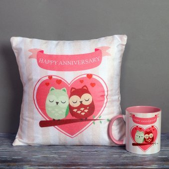 Happy Anniversary Mug and Cushion Combo for Couple