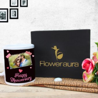 Anniversary Ecstacy - A Personalised Anniversary Mug with Back Sided View with Gift Box