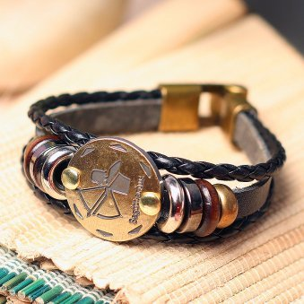 Golden Peacock Unisex Brown & Antique Gold Toned Sagittarius Leather Bracelet
