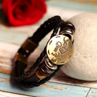 Golden Peacock Unisex Brown & Antique Gold Toned Aquarius Leather Bracelet