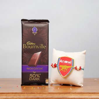 Arsenal FC Rakhi and Cadbury Bournville Combo for Kids