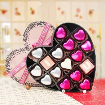 I Love You Heart Shaped Chocolates Gift with Zoomed in View