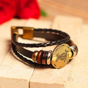 Golden Peacock Black Taurus Sun Shine Unisex Bracelet