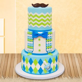 Three tier baby boy fondant cake
