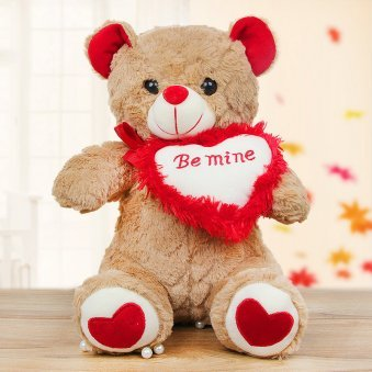 A teddy holding heart