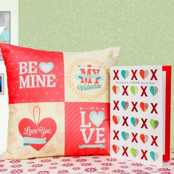 A combo of cushion and greeting card
