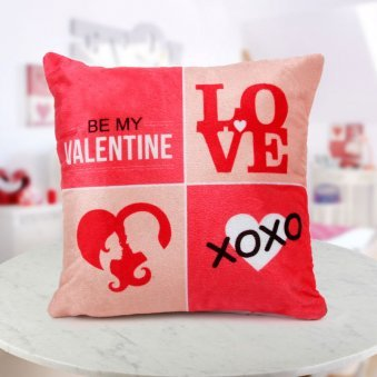 """A 12x12 red and pink """"Be My Valentine cushion"""" for your Valentine"""