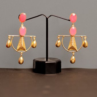 Gold Plated Pink Drop Earring