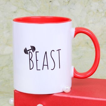 Beauty Beast White Mug with Front Sided View