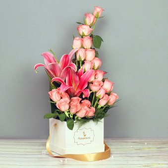 Pink Flowers Arrangement in White Box
