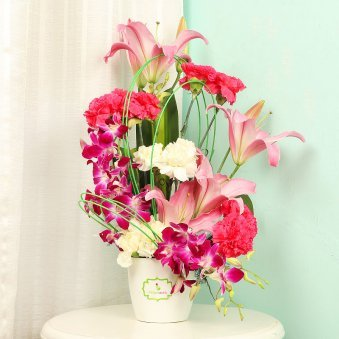 Mixed Flowers Bunch in White Vase