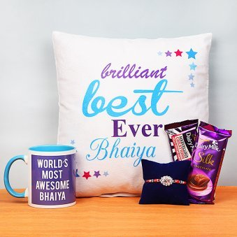Rakhi and Cushion with Printed Mug and Two Chocolates