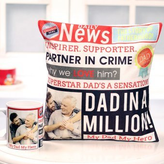 Combo of Personalised Cushion and Mug for Dad