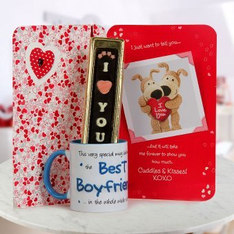 A beautiful card An I Love You handmade chocolates and A Best Boyfriend Coffee Mug