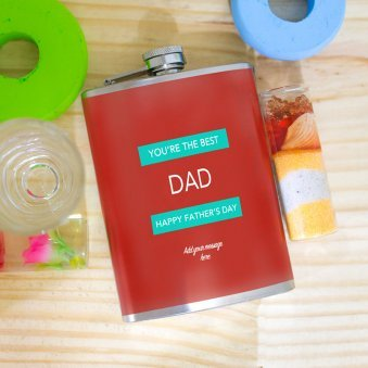 Best Dad Hip Flask - 13.5cm X 9cm X 2cm - L X W X T