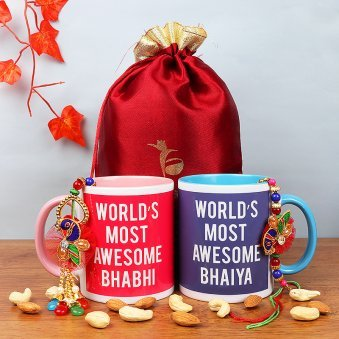 Bhaiya Bhabhi Rakhis with Set of Two Printed Mugs and Dry Fruits