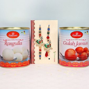 Bhaiya Bhabhi Peacock Rakhi Set with Sweets Combo