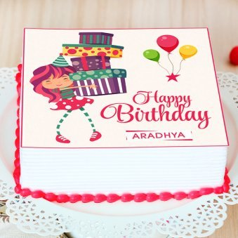 Square Animated Cake for Girl Child