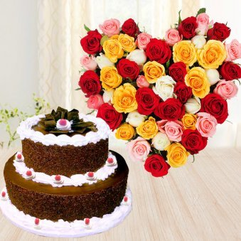 Black Forest Beauty - Combo of 2 tier black forest cake and Heart shaped 18 mixed roses arrangement