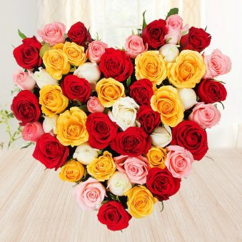 Heart shaped mixed roses arrangement - 1st gift of Black Forest Beauty