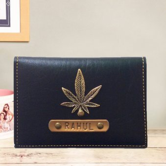 Alluring Black Personalized Folding Card Holder
