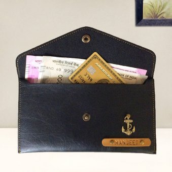Black Personalized Button Wallet