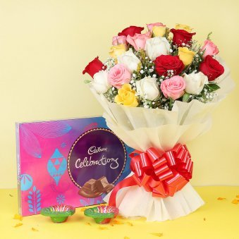 Diwali Gift Combo of Chocolates and Flowers with Diyas