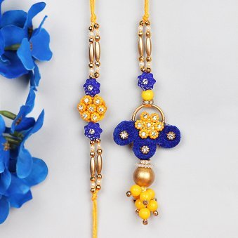 Blooming Rakhi Set for Bhaiya and Bhabhi