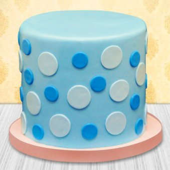 Blue polka dots theme cake