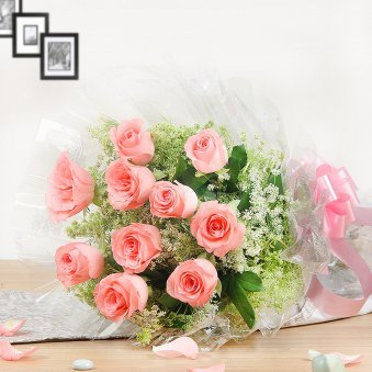 10 Pink Roses Bouquet - Part of Bountiful Celebrations