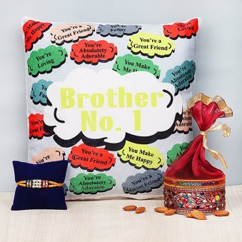 Rakhi and Cushion with Dry Fruits in A Box
