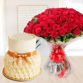 Buttercream Fiesta - Combo of 2 tier butterscotch cake and bunch of 50 red roses