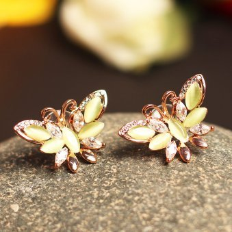 Golden Peacock gold plated Butterfly shaped earrings