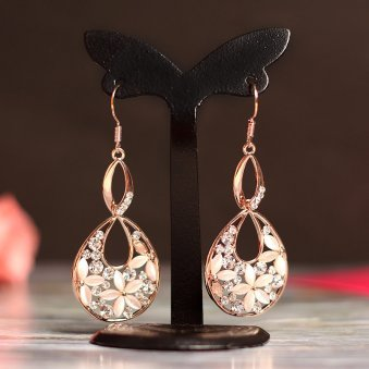 Golden Peacock Cat Eye Stone Earring