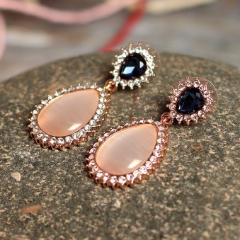 Cat Eye stone Teardrop Earrings