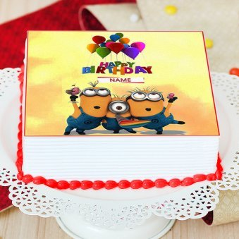 Minion Birthday Photo Cake For Children - Zoom View