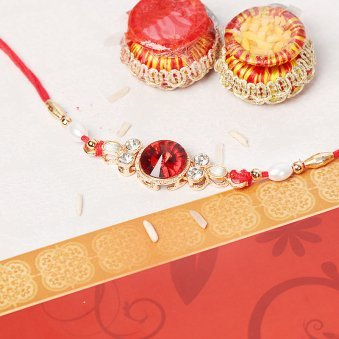 Centered Stone Kundan Rakhi