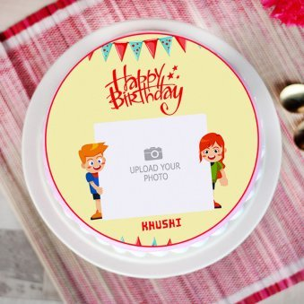 Round Personalized Cake for Kids - Top View