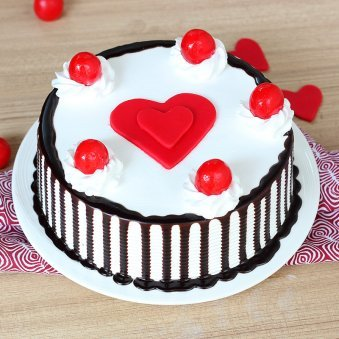 Black Forest Anniversary Cake with 2 Fondant Heart