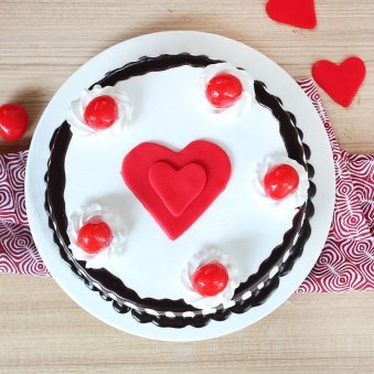 Black Forest Anniversary Cake with 2 Fondant Heart - Top View