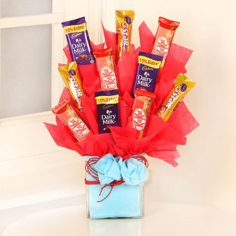 Chocolates Bouquet in a Glass Vase