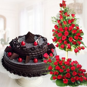 Chocolate Addiction Combo - 3 feet 100 Red roses bouquet and chocolate truffle cake