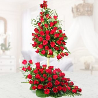 3 feet 100 Red roses bouquet - 1st gift of Chocolate Addiction Combo