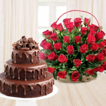 Chocolate Temptations - A gift hamper of 3 tier chocolate cake and 100 red roses
